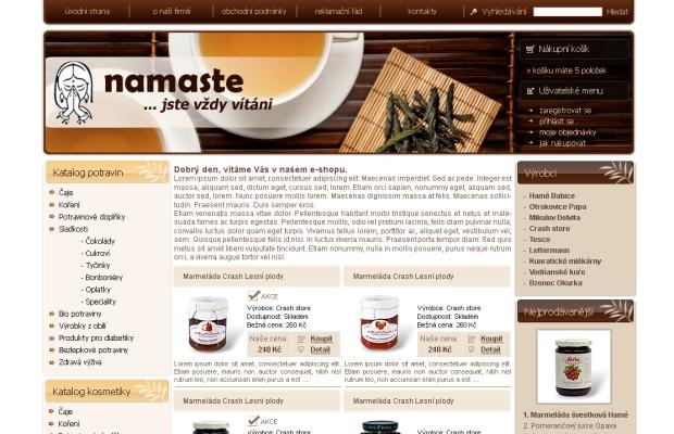 E-shop, tvorba e-shopu: e-namaste.cz