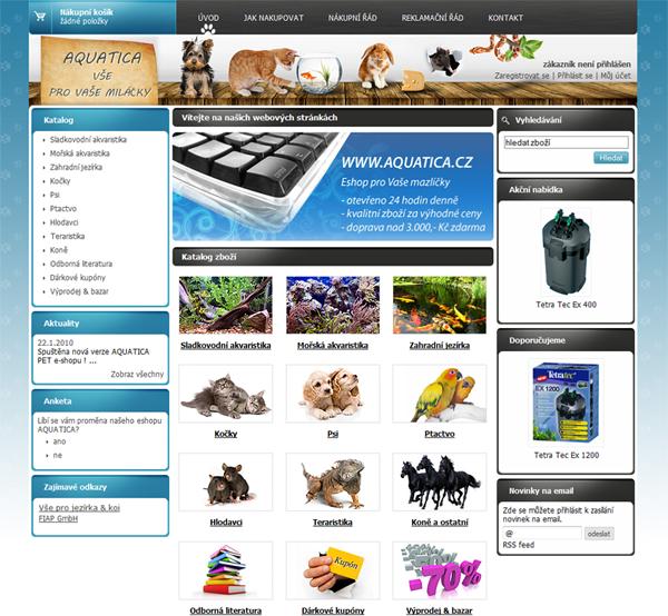 E-shop, tvorba e-shopu: aquatica.cz