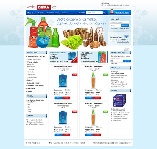 E-shop, tvorba e-shopu: vasededra.cz