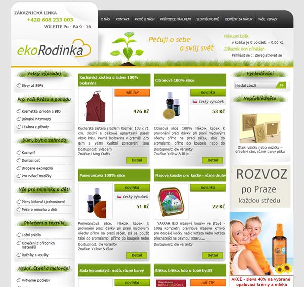 E-shop, tvorba e-shopu: ekorodinka.cz