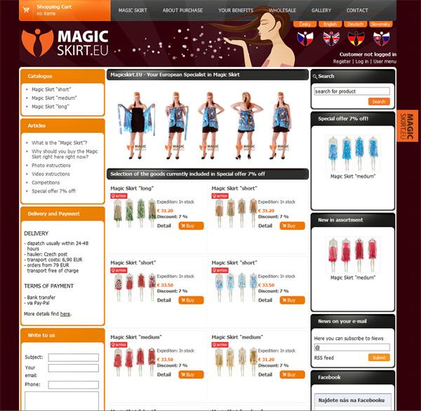 E-shop, tvorba e-shopu: magicskirt.eu