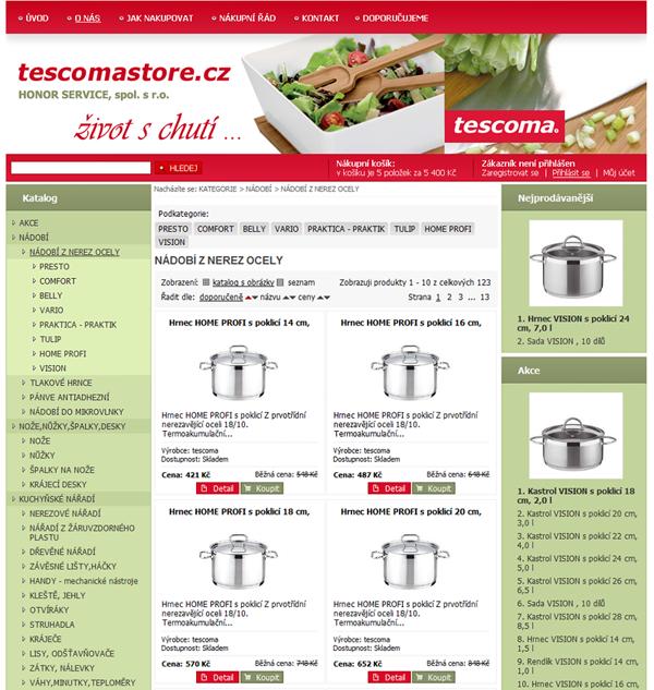 E-shop, tvorba e-shopu: tescomastore.cz