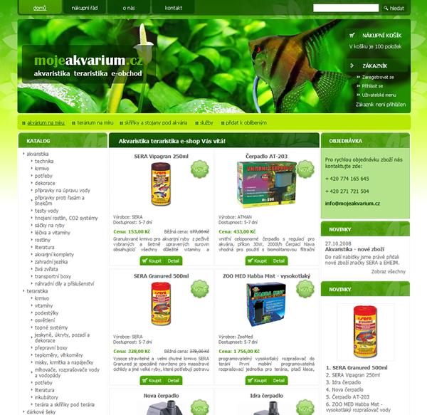 E-shop, tvorba e-shopu: mojeakvarium.cz