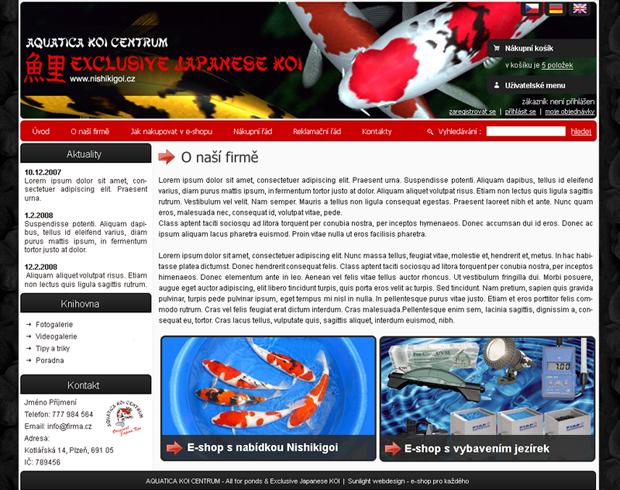 E-shop, tvorba e-shopu: nishikigoi.cz