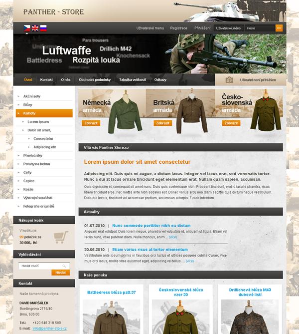 E-shop, tvorba e-shopu: panther-store.cz