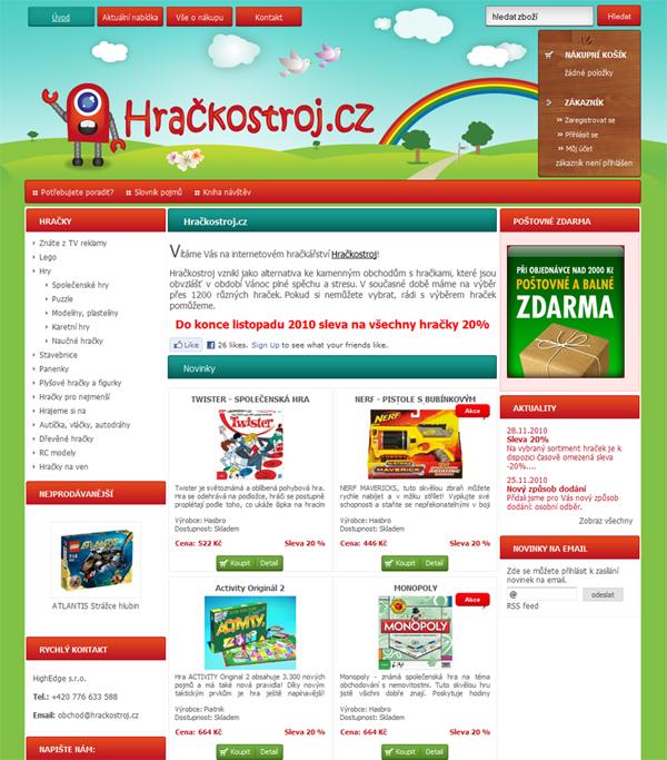 E-shop, tvorba e-shopu: hrackostroj.cz